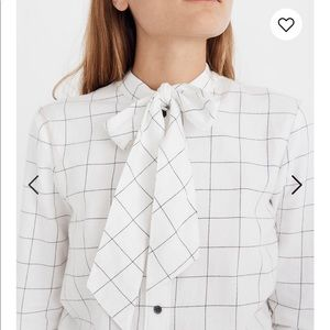 Madewell Flannel Tie-Neck Shirt in Windowpane